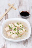 Soup with rice noodles, tofu and green onions in a bowl Stock Image