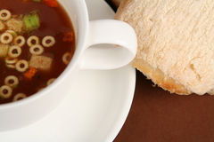 Soup and roll royalty free stock photo