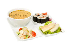 Soup and rolls and salad Royalty Free Stock Photo