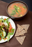 Soup, salad and chips Royalty Free Stock Photography