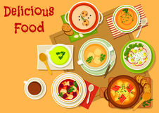 Soup and salad dishes icon for menu design Stock Images