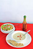 Soup and Salad (vertical) Royalty Free Stock Photography