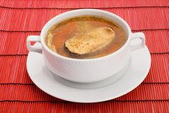 Soup with salmon royalty free stock photography