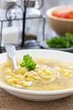 Soup with salted cucumbers and pearl barley Stock Images