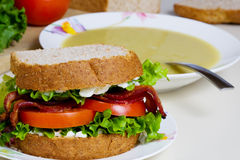 Soup and sandwich Stock Photo