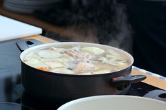 Soup in the saucepan Royalty Free Stock Photography