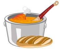 Soup in saucepan Stock Photos