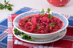 Soup of sauerkraut with beet and pearl barley Stock Images