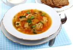 Soup of sauerkraut and meat. Soup of sauerkraut and meat in a white plate Stock Photos