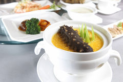 Soup with sea cucumber royalty free stock photography