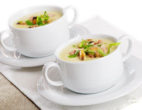 Soup with seafood stock image