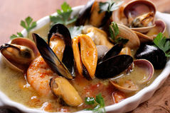 Soup with seafood Royalty Free Stock Image