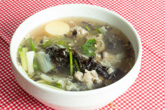 Soup with seaweed and minced pork Stock Image