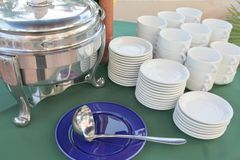 Soup section at buffet. Kitchen ware at soup section in restaurant buffet dinner Royalty Free Stock Photography