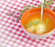 Soup with with semolina dumplings (noodles) Royalty Free Stock Photos