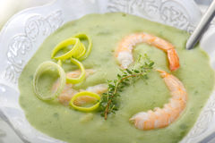 Soup with shrimp and leek Stock Images