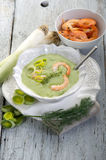 Soup with shrimp and leek Stock Photography