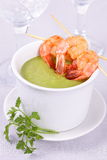 Soup with shrimps. Royalty Free Stock Image