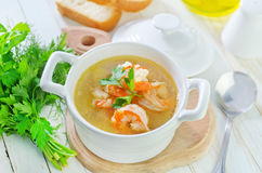 Soup with shrimps Royalty Free Stock Photography