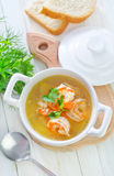 Soup with shrimps Royalty Free Stock Photos