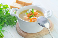 Soup with shrimps Stock Photography