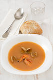 Soup with shrimps and mussels Stock Image