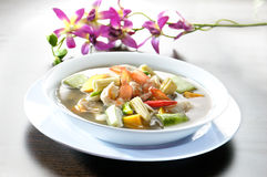 Soup with Shrimps and Vegetables Stock Photo