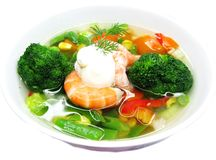 Soup with shrimps vegetables and sea food Royalty Free Stock Photography