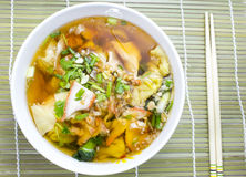 Soup with sliced pork and dumplings Royalty Free Stock Photo