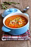 Soup with small pasta, vegetables and pieces of meat Stock Photography