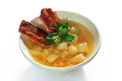 Soup with smoked ribs Royalty Free Stock Images