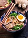 Soup with soba noodles, beef, ginger, green onions and egg. Stock Image