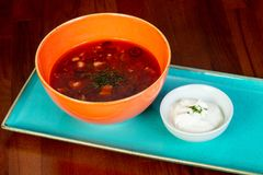 Soup Solyanka with cream. And spices Royalty Free Stock Image
