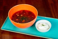 Soup Solyanka with cream. And spices Royalty Free Stock Images