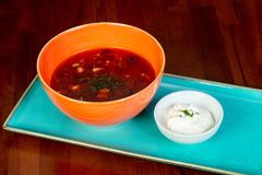Soup Solyanka with cream. And spices Stock Image