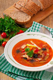 Soup solyanka Russian with meat, olives and gherkins. In  bowl stock photo