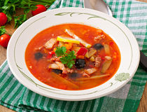 Soup solyanka Russian with meat, olives and gherkins. In  bowl Royalty Free Stock Image