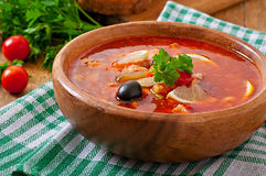 Soup solyanka Russian with meat, olives and gherkins Stock Image