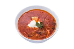 Soup solyanka russian national Royalty Free Stock Photos