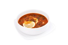 Soup solyanka. On white background Royalty Free Stock Photography