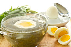 Soup with sorrel. Green soup with eggs and sorrel in a plate royalty free stock photography