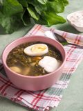 Soup with sorrel and egg. Light summer green soup. Soup with sorrel and egg. Light summer green soup stock photo