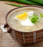 Soup with sorrel and egg Stock Photo