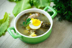 Soup with sorrel. And eggs in a bowl on the table Royalty Free Stock Photos