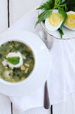 Soup with sorrel. Green borsch with nettles, sorrel and boiled eggs Royalty Free Stock Photography