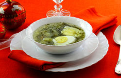 Soup with sorrel, potato and egg. In the white soup plate Royalty Free Stock Images