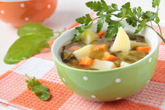 The soup of sorrel and potatoes Stock Images