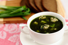 Soup with spinach and meatballs Stock Image