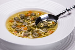 Soup and spoon. Beef soup with a spoon stock photography