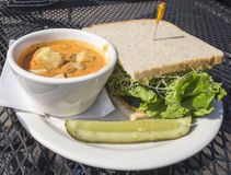 Soup and Sprout Sandwich Stock Photos